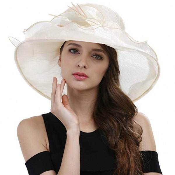 black cold shoulder midi shift dress with white feather church hat