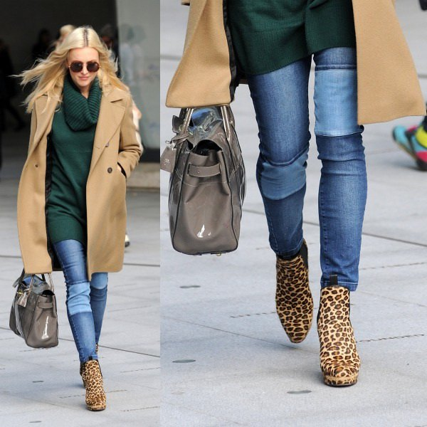 black cowl neck tunic sweater with camel blazer and animal print boots