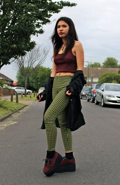 black cropped tank top with shocking green plaid skinny pants