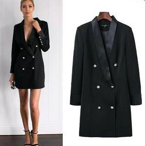 black double breasted suit jacket dress with ankle strap open toe heels