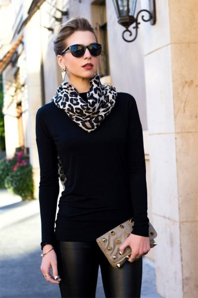 black long sleeve tee with leopard print scarf and leather leggings