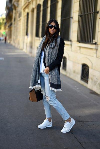 black longline cardigan with grey oversized scarf and boyfriend jeans