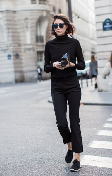 black mock neck sweater with cropped slim fit jeans and walking shoes