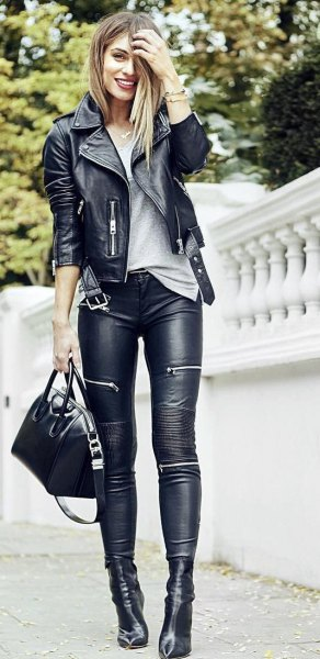black moto fall jacket with leather biker pants and boots