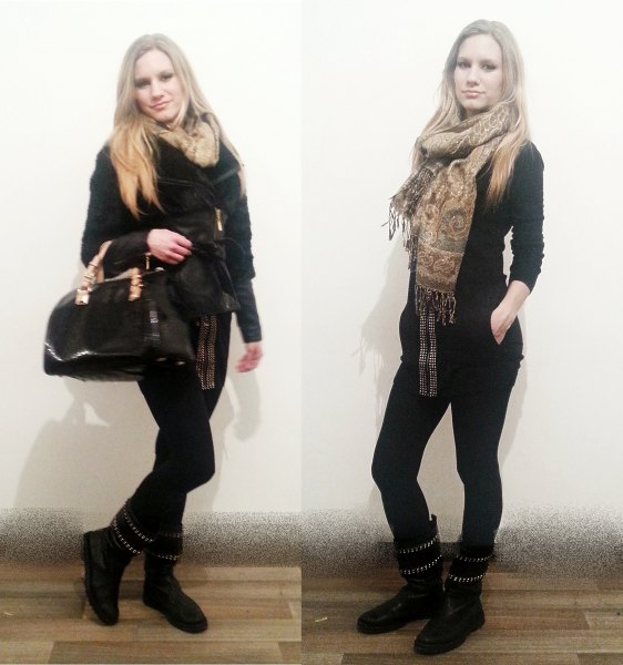 black sweater with skinny jeans and gold tribal printed scarf