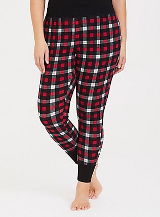 black tank top with red and white plaid tapered leg pajama pants