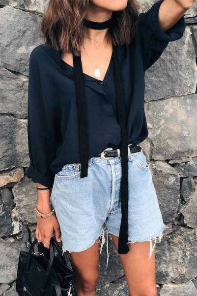 black v neck chiffon blouse with thin summer scarf