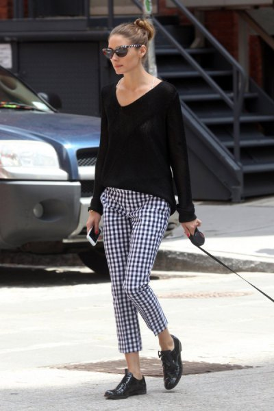 black v neck comfy sweater with checkered pants