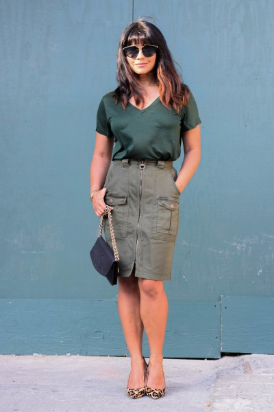 black v neck tee with zip up cargo skirt