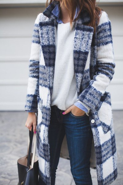 blue and white plaid long wool coat with ribbed pullover sweater