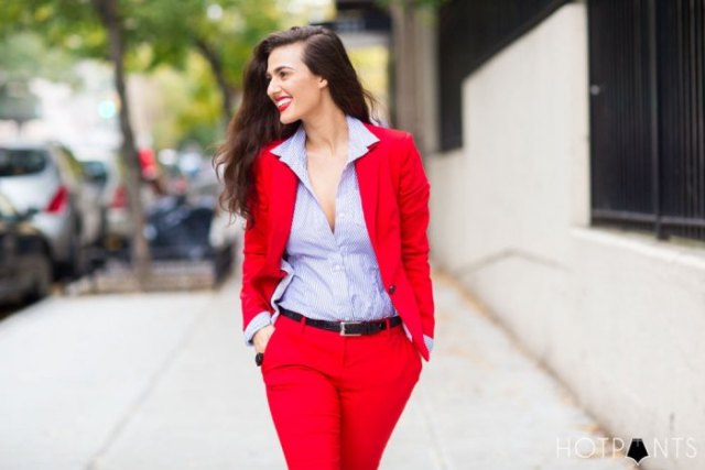 blue and white striped button up shirt with red suit