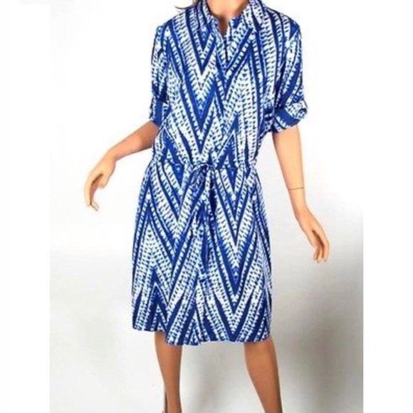 blue and white tribal printed tie dye shirt dress