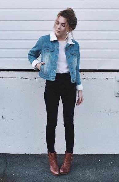 blue fitted denim jacket white fur collar and brown leather boots