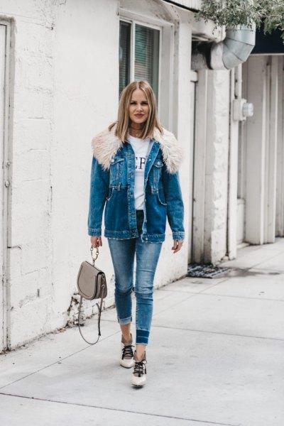 blue fur collar denim boyfriend jacket with skinny jeans