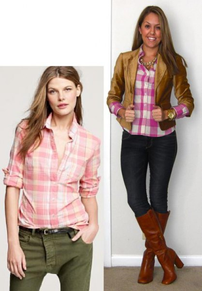 blush and white plaid shirt with green skinny jeans