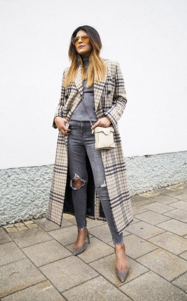 blush pink and black maxi plaid coat with grey ripped knee jeans