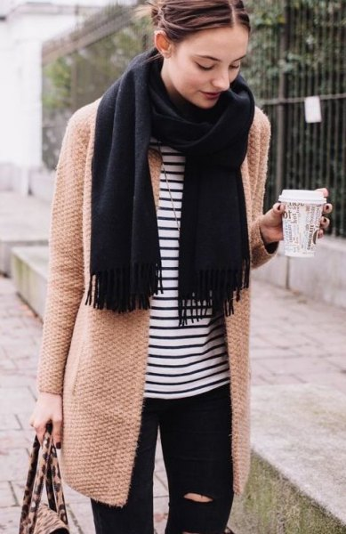 blush pink longline wool coat with striped tee and black scarf