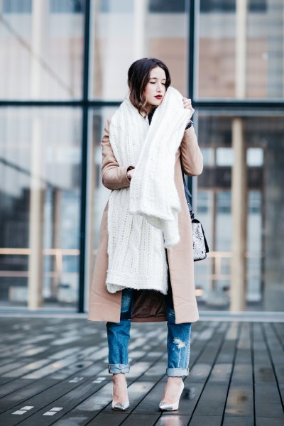 blush pink longline wool coat with white long scarf