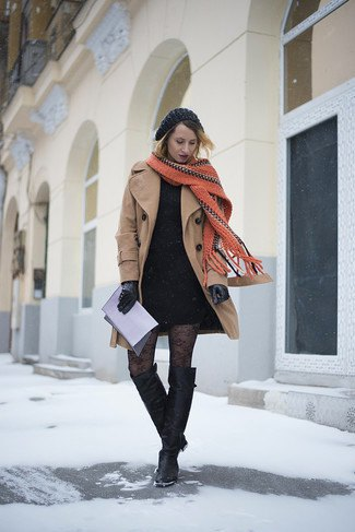 blush pink wool coat with black mini shift dress