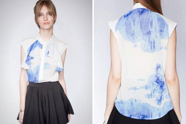 chiffon blue and white tie dye shirt with black mini skater skirt