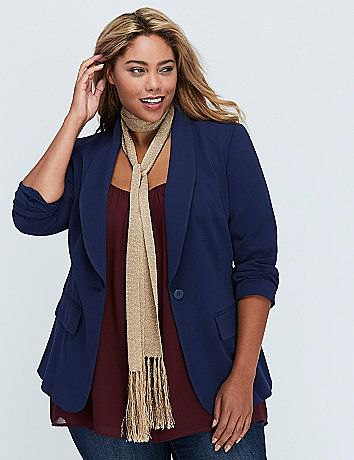dark blue blazer with gold sequin fringe scarf and skinny jeans