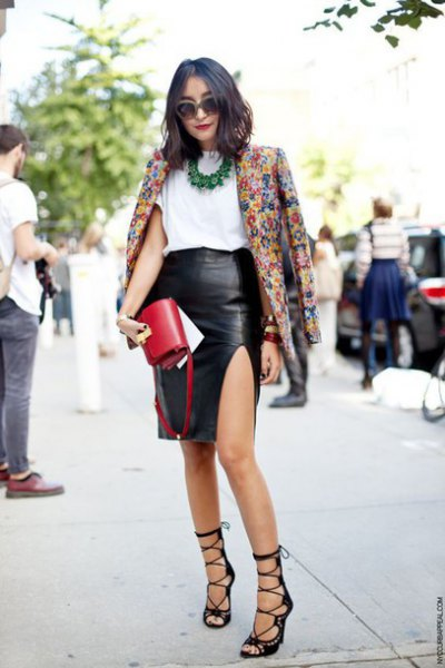 floral print blazer with black side slit faux leather skirt