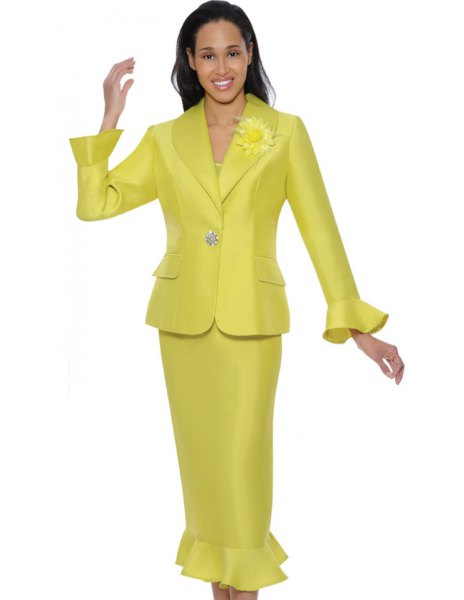 gold church suit jacket with matching ruffle hem midi skirt