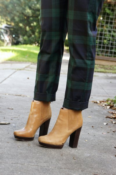 green plaid pants with light brown leather ankle heeled boots