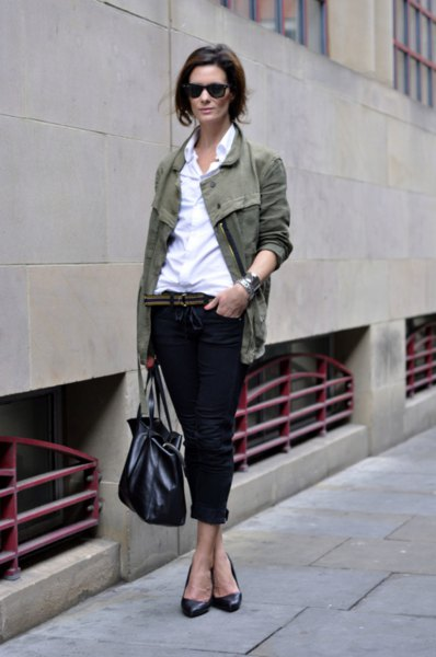 grey blazer with white button up shirt and cuffed black jeans