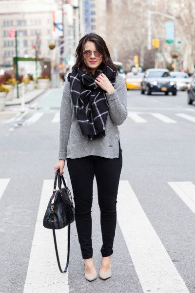 grey sweater with plaid scarf and pale pink flats