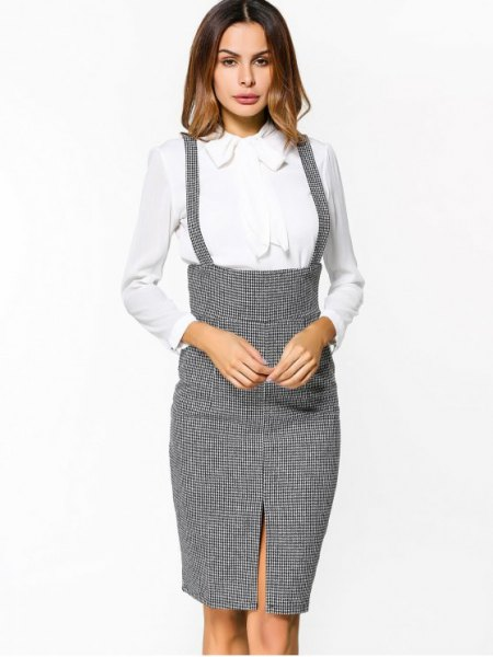 grey tweed suspender midi bodycon skirt with white shirt