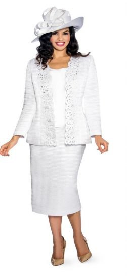 lace suit jacket with midi straight cut skirt and floppy hat