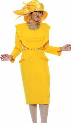 lemon yellow church suit with midi skirt and golden hat