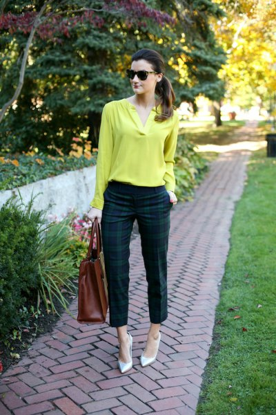 lemon yellow cotton long sleeve blouse with green and navy blue plaid pants