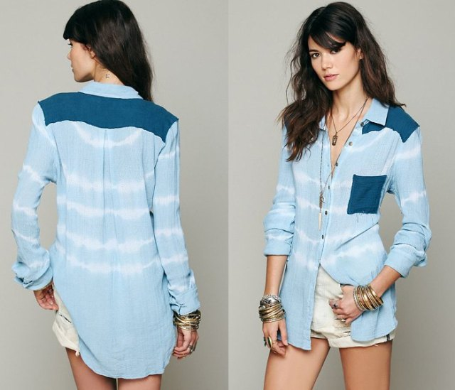 light blue and white tie dye striped chambray long sleeve shirt with pink shorts