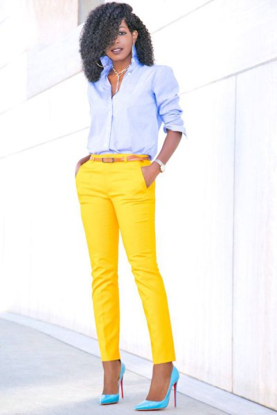 light blue button up shirt with yellow slim fit pants