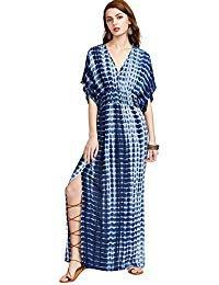maxi gathered waist v neck tie dye high split shirt dress