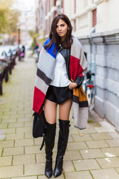 multiple color oversized scarf with black mini shorts and long boots