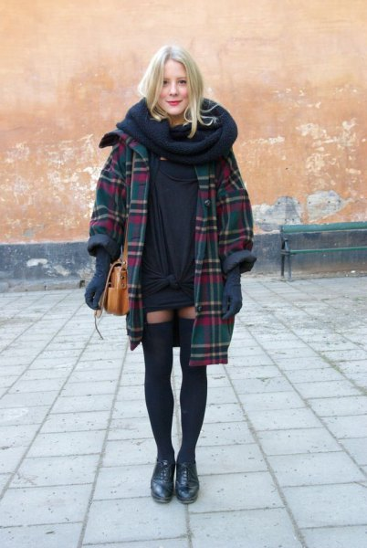 navy plaid long coat with infinity scarf