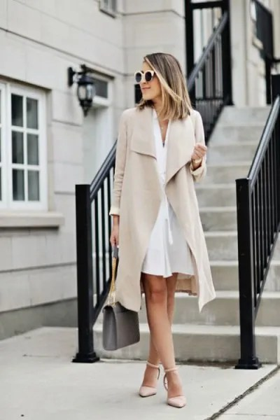 pale pink longline suit jacket dress with matching heels
