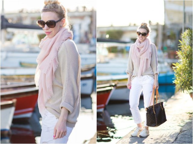 pale pink pullover sweater with matching scarf and white pants