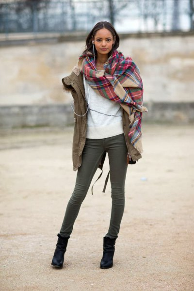 red and blush plaid scarf with camel military jacket