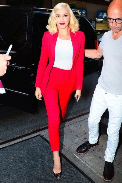red blazer with matching ankle pants and white long sleeve fitted tee