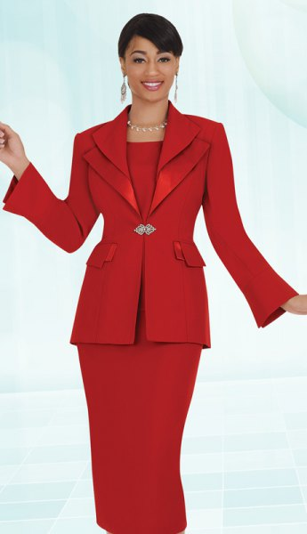 red church suit jacket with midi tank dress