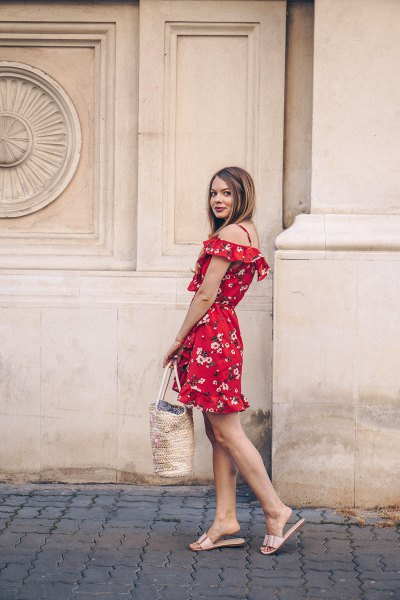 red off the shoulder fit and flare floral printed mini dress and metallic slippers