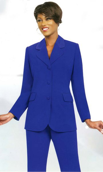 royal blue high collar suit with black heels