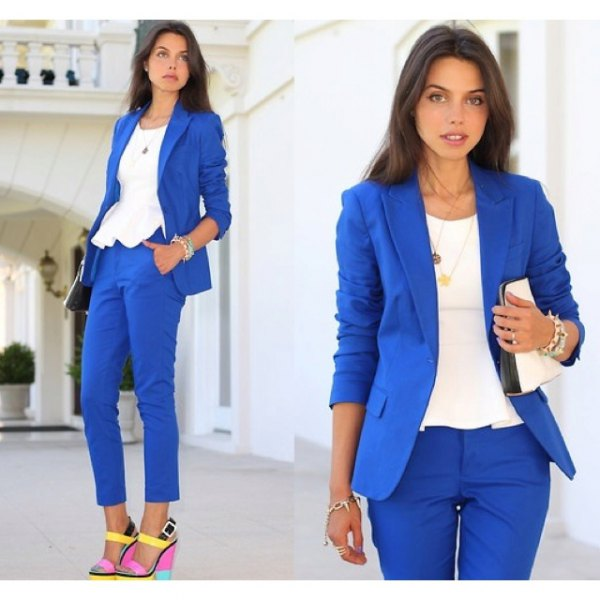 royal blue slim fit suit with white peplum blouse and yellow heels