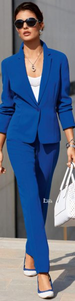 royal blue suit with white scoop neck top and ballet flats