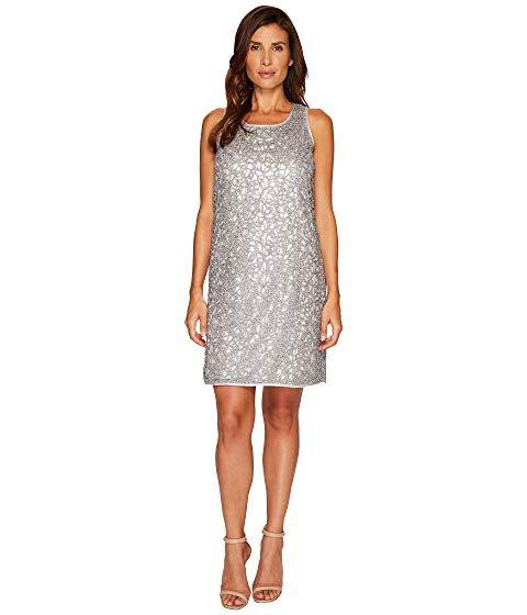 silver scoop neck lace metallic mini dress with open toe heels