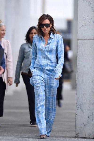 sky blue and white plaid pajama shirt with matching pants